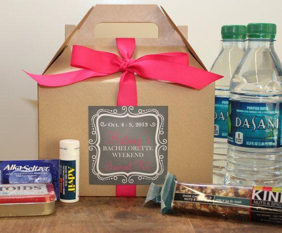 Set of 8 - Bachelorette Weekend Survival Kit Boxes // Hangonver Kit // Wedding Weekend Survival Kit // Bachelorette Party Favor Chalkboard on Etsy, $28.00