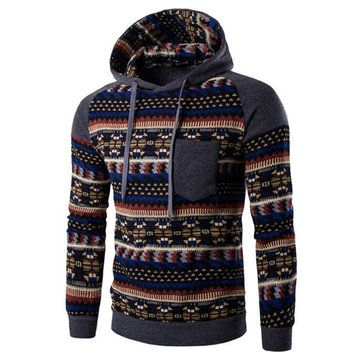 Mens Hoodies Retro Ethnic Style Pattern Printing Front Pocket Casual Sport Hooded Tops
