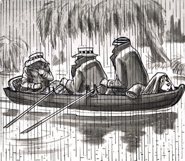 Rowing in the Rain by Peter Woolcock. This is one of a series of pen and ink drawings Woolcock did for a serialisation of Jerome K Jerome's Three Men in a Boat.