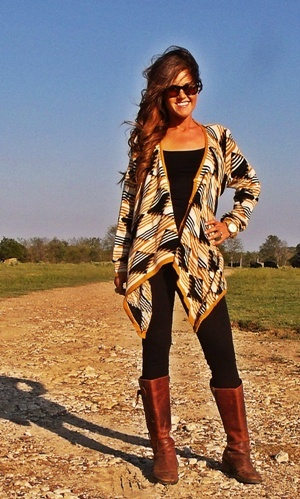 Cute outfit, especially the Aztec cardigan.