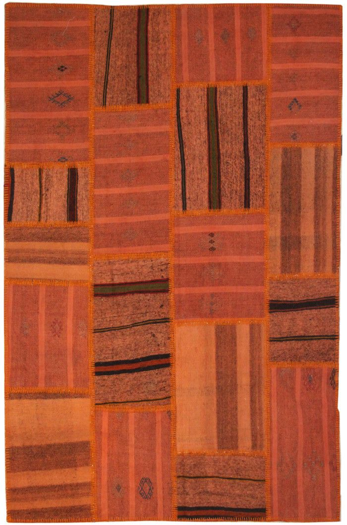 The Orient Bazaar - Orange Rugs Area Rug Tribal Rug Turkish Kilim for Home Decor Patchwork Rug for Living Room Decoration