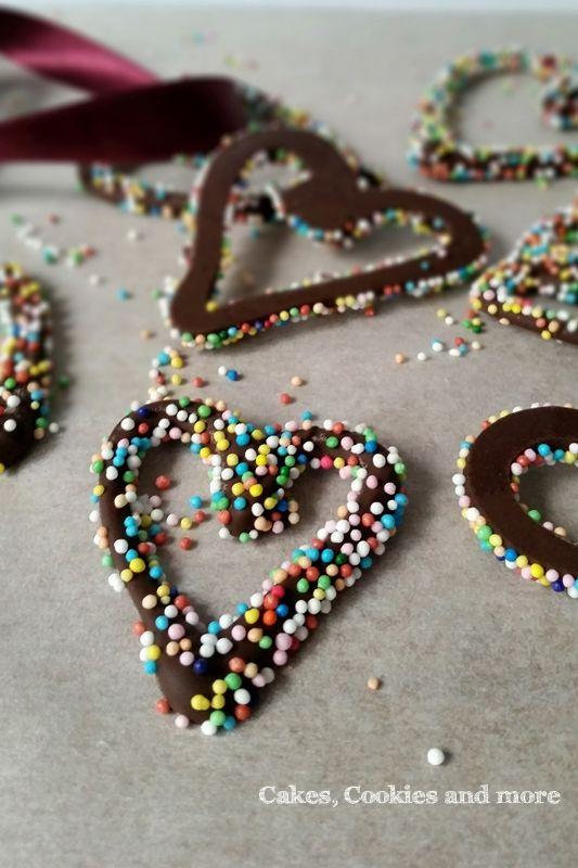 Rezept für Schokoladenherzen mit Nonpareills