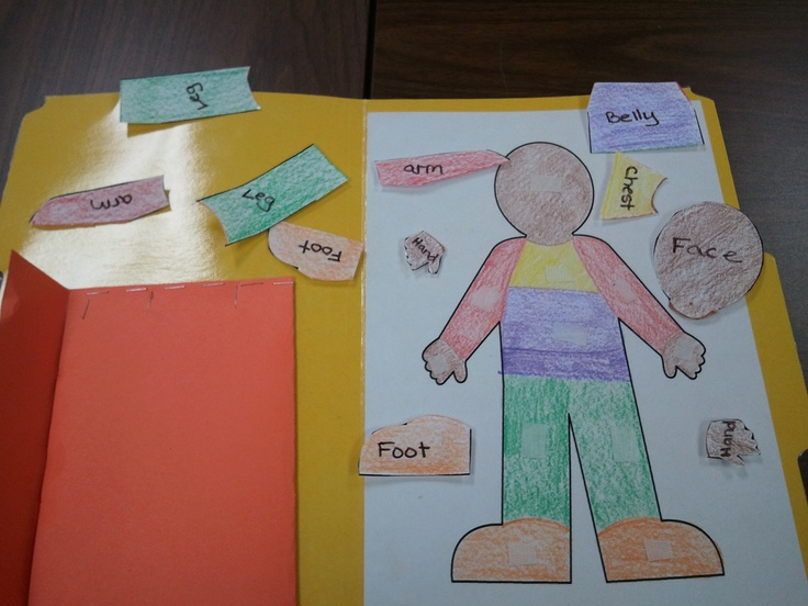 a great way to teach kids body parts! A velcro file folder game!