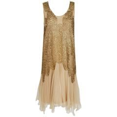1925 Elspeth Champcommunal Haute-Couture Metallic Gold Lame Silk Flapper Dress