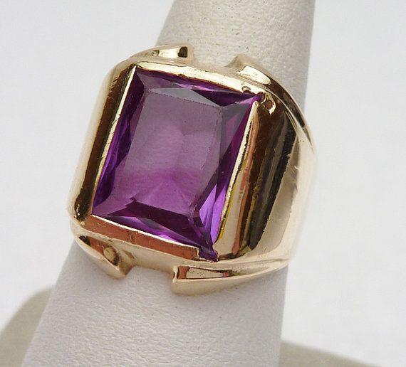 purple stone rings   Vari-Gem Synthetic Purple Stone Ring