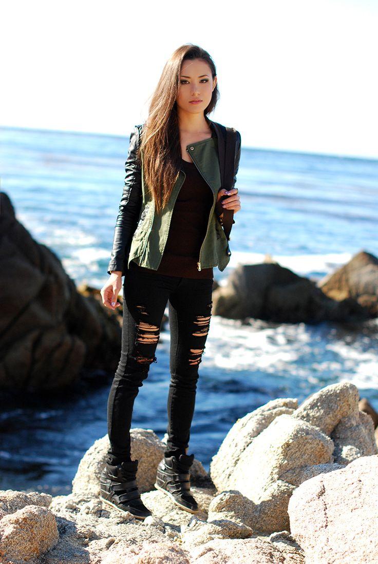distressed black jeans + utility/moto jacket w/ leather sleeves + wedge sneakers