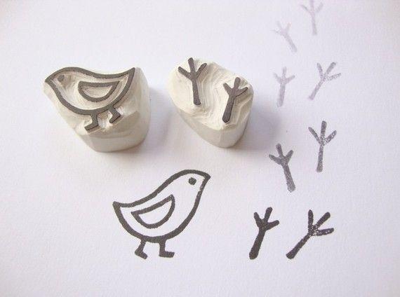 Bird and Bird Tracks Hand Carved Rubber Stamp Set