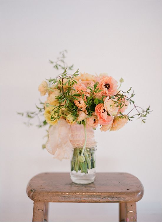 Peach flower arrangement by Elizabeth Messina