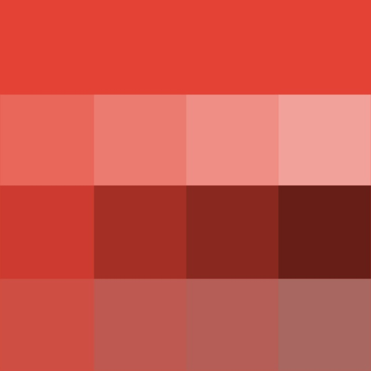 #Vermillion Hue, Tints, Shades & Tones (Hue) ( pure color ) with Tints (hue + white), Shades (hue + black) and Tones (hue + grey, which desaturates the Hue)