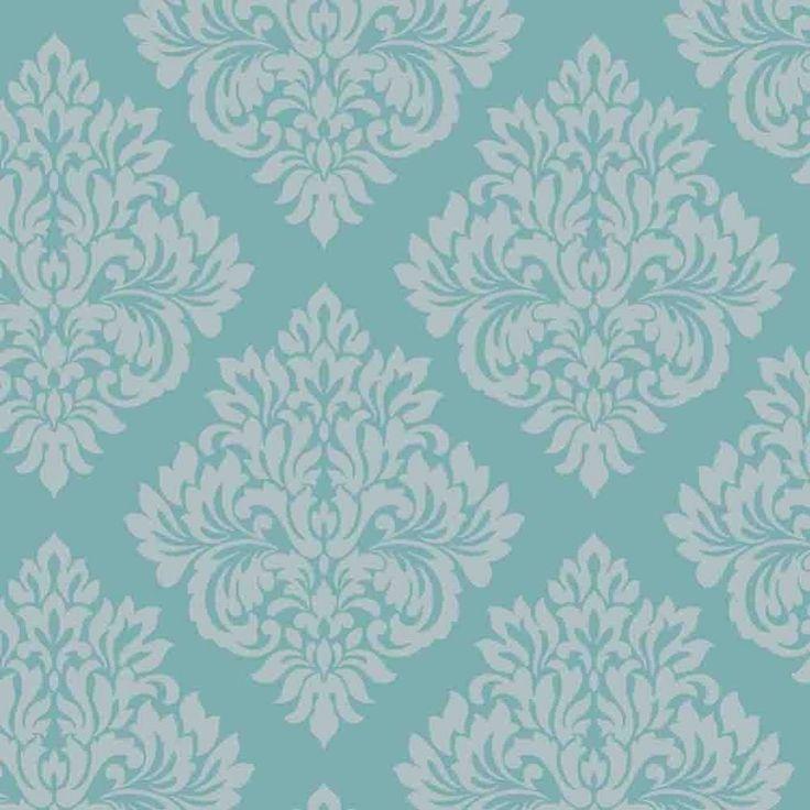 Decorline Sparkle Damask Wallpaper Teal / Silver (DL40203