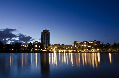Blue hour grote dobbe. © Ronnie Spoelstra. Urbanism. Zoetermeer, The Netherlands.