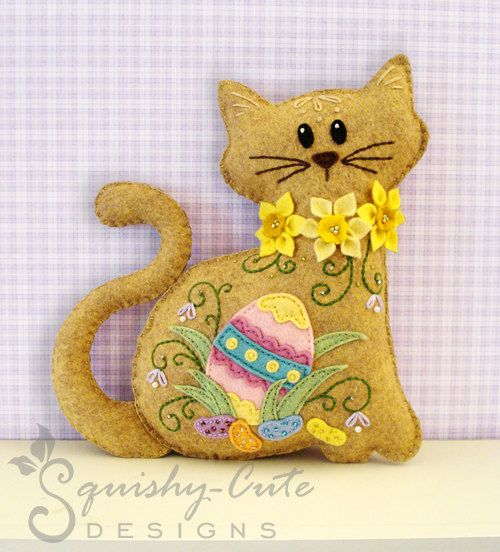 Felt Plushie Sewing Pattern & Tutorial - like the cat outline, want to make some stuffed kitties ... without the easter trim though :)