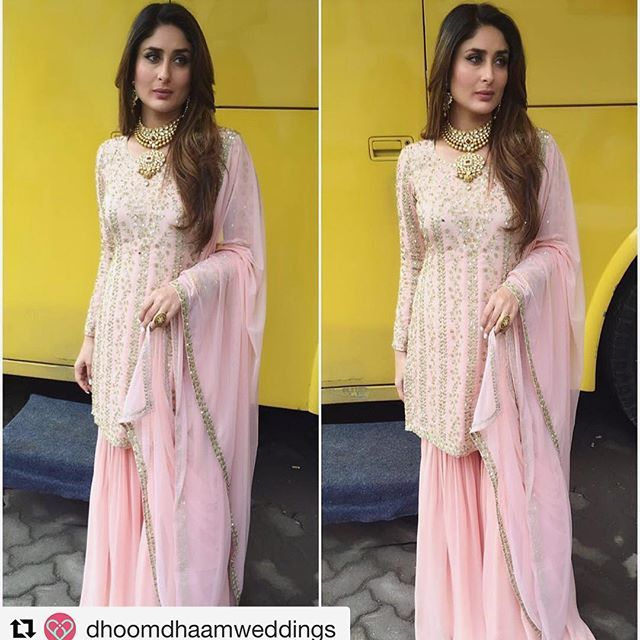 The stunning Kareena Kapoor in our pastel pink hand embroidered sharara…