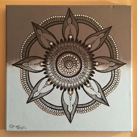 Henna Mandala/light blue and grey/hand by CLoTheArtist on Etsy