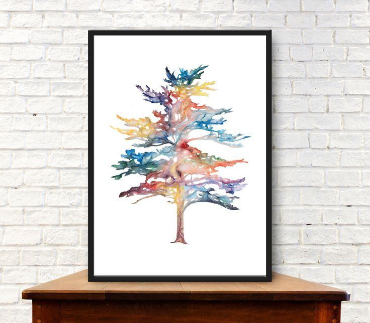Digital download of original acrylic painting - Fir tree nature botanical print by #purdeybarcelona on Etsy