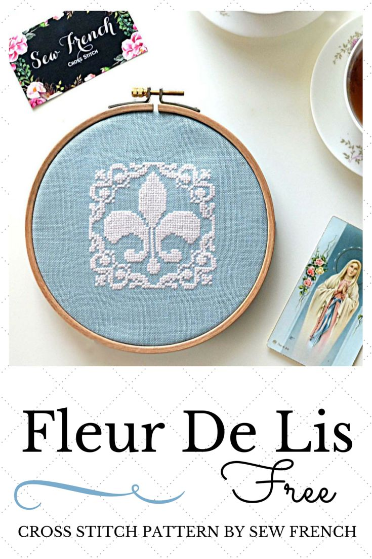 Free Fleur De Lis Cross Stitch Pattern! Stitch it in your favorite colors! Pretty French cross stitch. Shabby Chic!