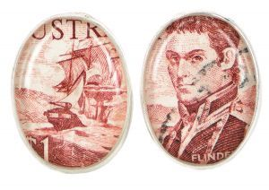 Flinders 1966 silver plate and re-purposed stamp cufflinks