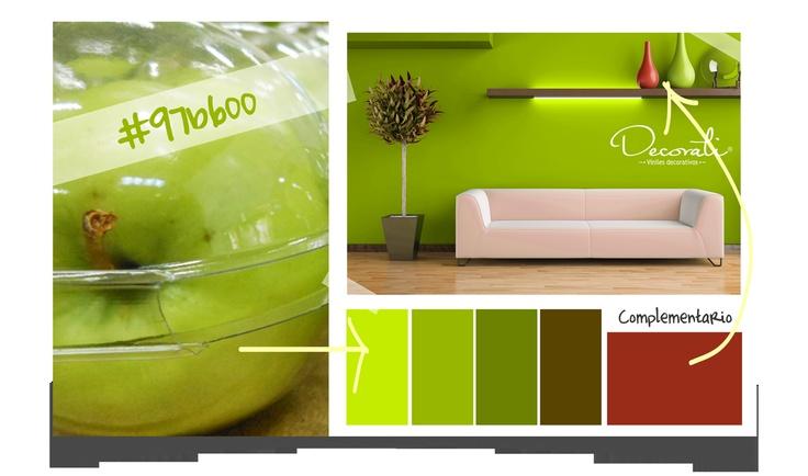Como color principal- color verde manzana y complementario, color rojo por Decorati