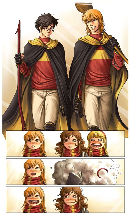 Ginny's face lol. I cracked up at this because Hermione so would beat any other girls for Ron! ...