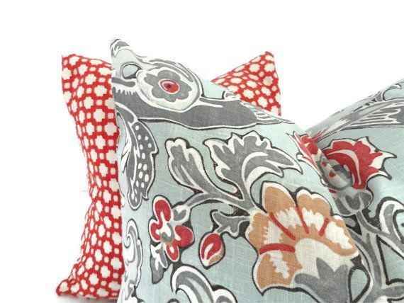 Red And Gray Decorative Pillow Acinaz For Adorable Blue And Grey Decorative Pillows