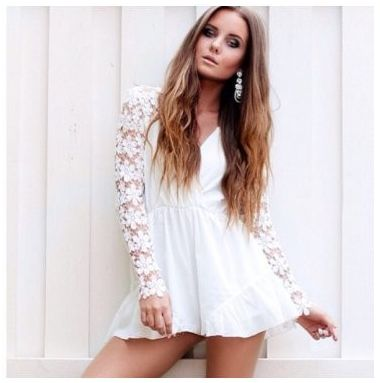 New White Lace Playsuit now available at Ruby Liu! ♥ http://rubyliuboutique.com/collections/lace