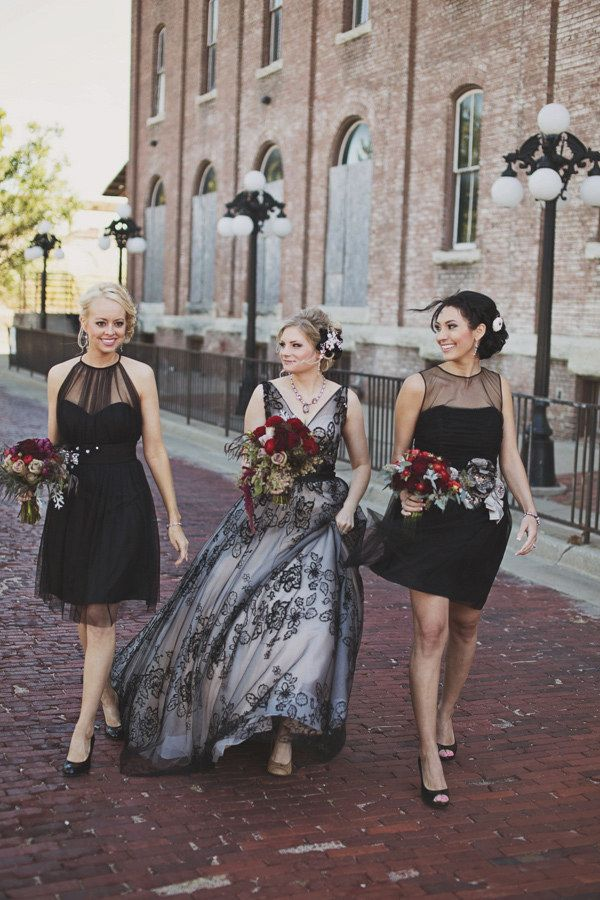 19 Beautiful Brides Who Wore Black On Their Big Day, never would have thought of a black dress but this one is really pretty