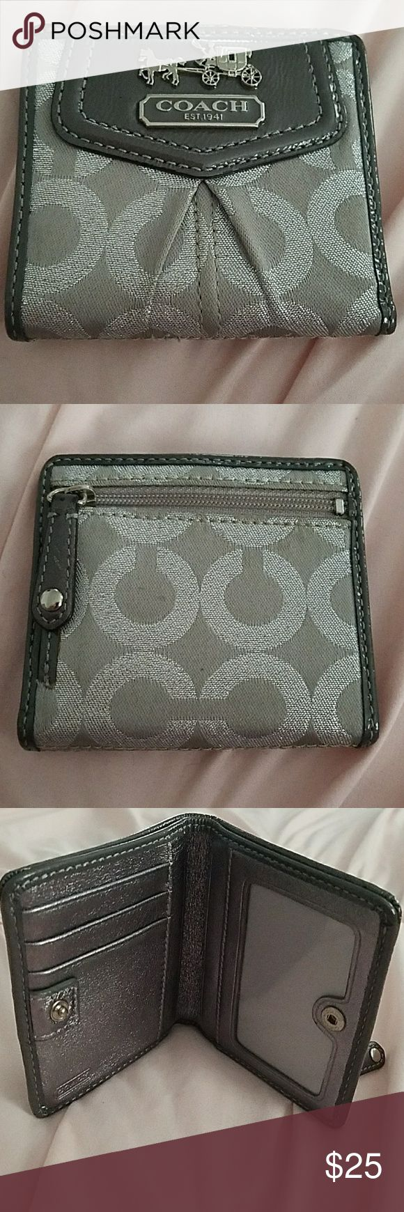 Coach wallet Authentic Coach wallet. Gray and silver bi-fold. When open length size of dollar bills to fit inside. One extremely small spot on back and a little fraying on inside of left front pocket but cannot tell when you open. Price is reflected. Coach Bags Wallets