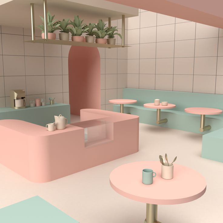 Cake Shop Design, Cafe Design, Store Design, House Design, Cafeteria Design, Public Space Design, Pastel Interior, Restaurant Interior Design, Interior Architecture