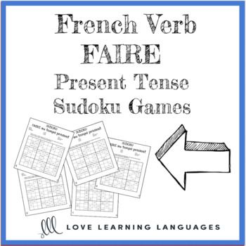 French verb faire present tense sudoku games - Le verbe faire au temps présent Use these sudoku games to practice the French verb faire in the present tense . 5 versions are included. Students place a verb in each empty box so that each row, column and nine box square contains each of the verbs. Related Products ⭐ French Verb