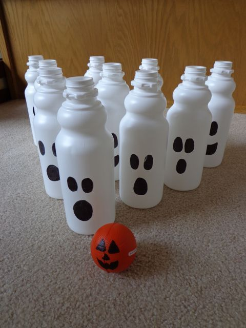 Ghost Bowling with recycled coffee cream bottles.: