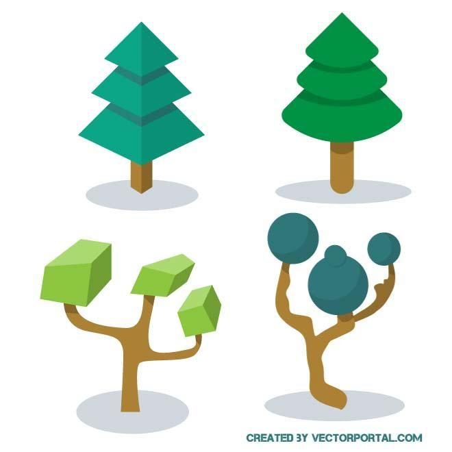Green trees vector illustration.