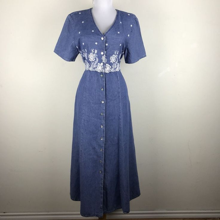 Vintage 1990s Dress Maxi Denim Modest Embroidered Floral Button Front Grunge M #AlexandraLee #Maxi