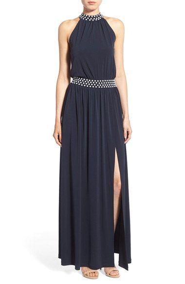 MICHAEL Michael Kors Enamel Stud Jersey Halter Maxi Dress available at #Nordstrom