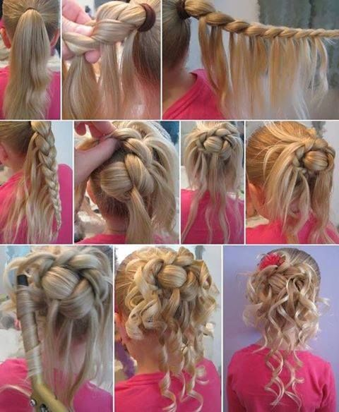 fun messy bun with a braid