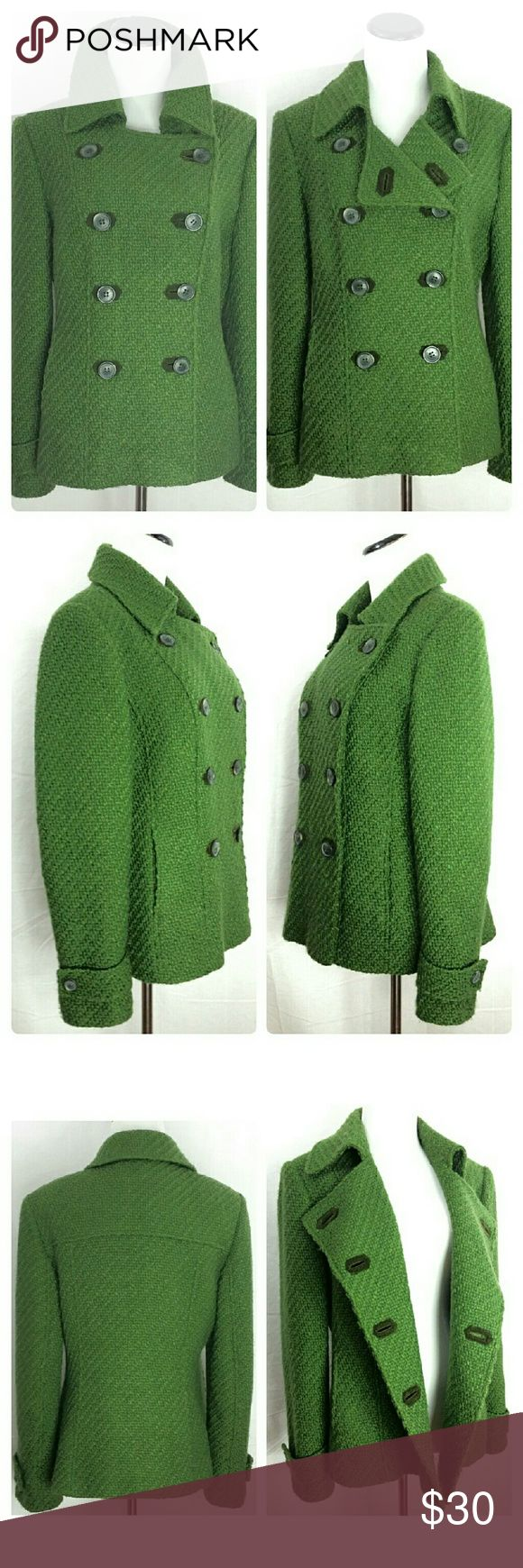 """MARKS & SPENCER Green Wool Blend Pea Coat EUC Add a touch of feminine style to your wardrobe with Marks & Spencer's Per Una collection for women, packed with confident colour and trend-led prints.  This Gorgeous Green Wool Blend Pea Coat Will keep you warm and stylish at the same time! Fitted, Double Breasted, Two Pockets, and Fully Lined Quality made with reinforced buttons.  UK Size 14 -US Size conversion 12 / Large  Sleeve 24.5"""" - Shoulder 17"""" - Bust 19"""" - Length 24"""" Outer: 43% Wool; 55%…"""