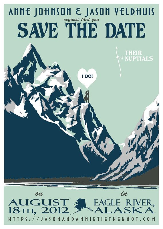 Graphic Vintage Poster Style Save the Date