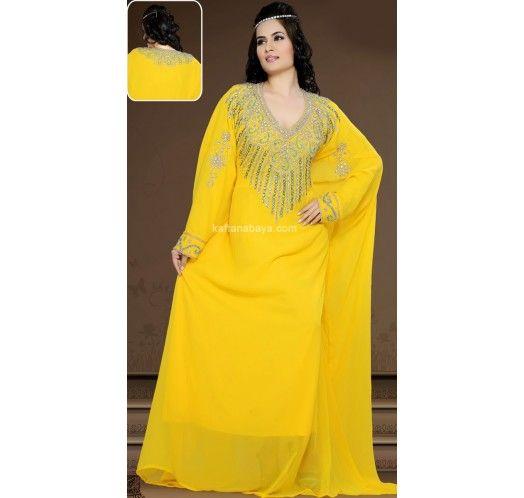 Yellow Faux Georgette Stylist Arabic #Caftan
