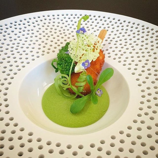 Scallop croquette and pea cream by @tadashi_takayama showing us that a great plate takes this dish from good to great! # yummy