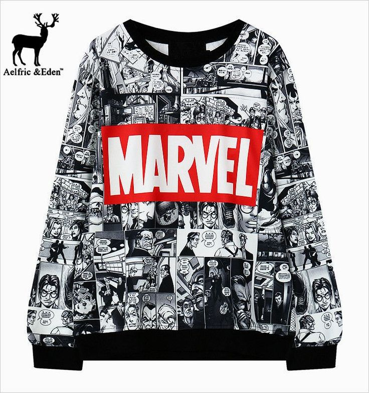 Harajuku Japan Korean fashion Marvel Sweatshirt Comic collage Avengers Xmen Professor x Spiderman All over print