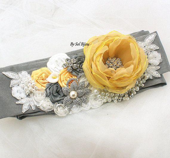 Sash Wedding Sash in Yellow Gray Pewter White and by SolBijou