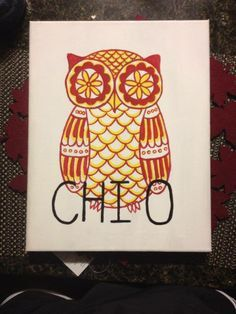 11x14 Canvas Chi Omega Owl by GettysCrafts on Etsy, $20.00