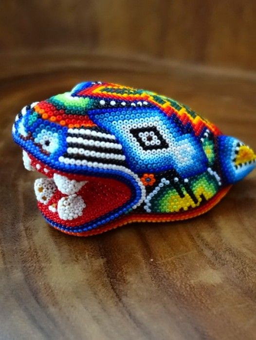 HUICHOL SHAMAN HAND BEADED JAGUAR HEAD
