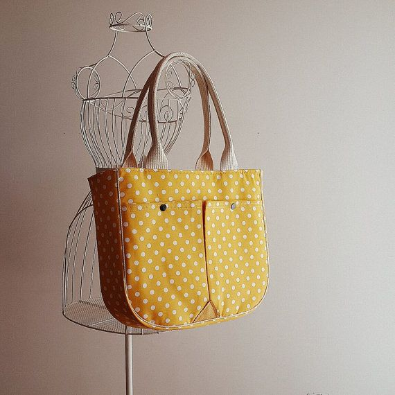 Check out this item in my Etsy shop https://www.etsy.com/listing/192959453/yellow-polka-dot-tote-bag-large-purse
