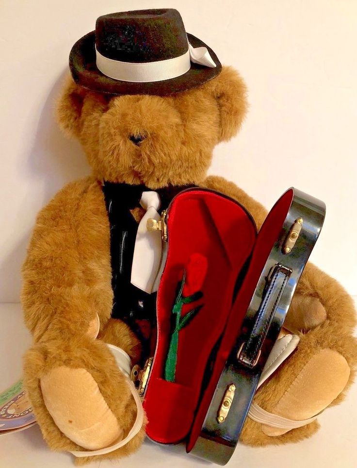 Vintage Vermont Teddy Bear With Violin Case. Plush Stuffed Animal Collectible  | eBay