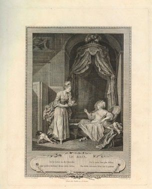Plate 2: a servant bringing a letter and a cup of chocolate to a noble woman having a bath.  1774 Etching and engraving