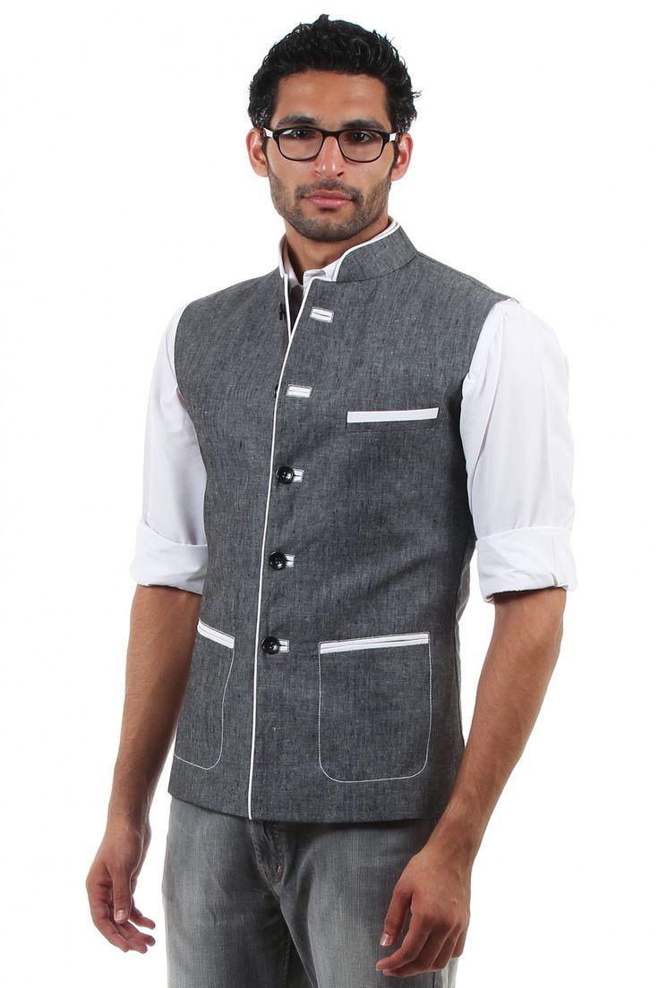 Ash Grey Linen Nehru Jacket by Rama Collezionni. #Men #Fashion $102