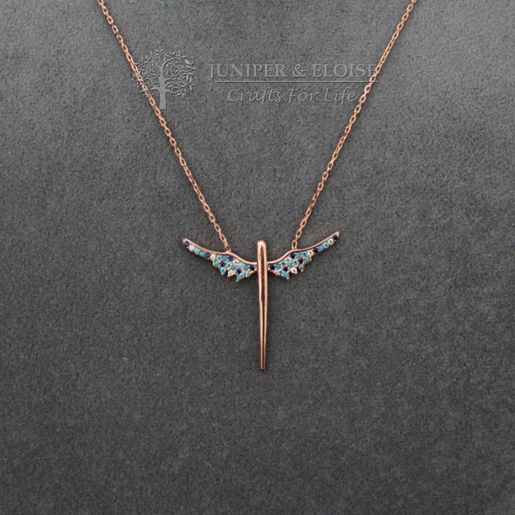 Womens Necklace, Wings Necklace, Rose gold 925 Silver Necklace, Gift For Her,  Minimal monile, colar, Halskette by JuniperandEloise on Etsy