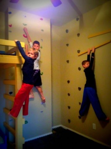 With three boys at home, you can imagine how rough and rowdy it can get around our house….especially during the winter months when they're stuck indoors. My boys are hugeAmerican Ninja Warriorfansand we were watching it a few months ago, when they spotlighted one of the athletes who had created an indoor rock climbing area …
