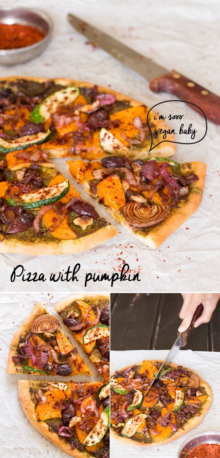This #delicious #vegan #pizza with #pumpkin #topping is perfect for #autumn. Flavourwise, it has it all - #sweet, #sour, #bitter and #salty. Once you try it, you'll want to make it again and again! #recipe #recipes #lunch #dinner #vegetarian #rocket