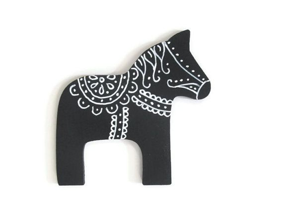 Dala Horse ornament in black with white hand by FischerFineArts, $12.00 #dalahorse #christmas #ornament